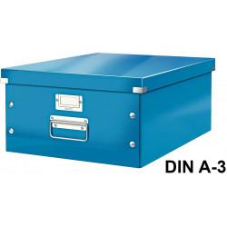 Caja de almacenaje leitz click & store wow en formato din a-3, color azul.