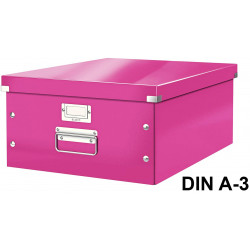 Caja de almacenaje leitz click & store wow en formato din a-3, color fucsia.