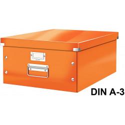 Caja de almacenaje leitz click & store wow en formato din a-3, color naranja.