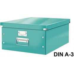 Caja de almacenaje leitz click & store wow en formato din a-3, color turquesa.