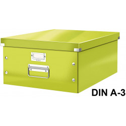 Caja de almacenaje leitz click & store wow en formato din a-3, color verde.