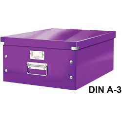 Caja de almacenaje leitz click & store wow en formato din a-3, color violeta.