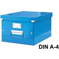 Caja de almacenaje leitz click & store wow en formato din a-4, color azul.