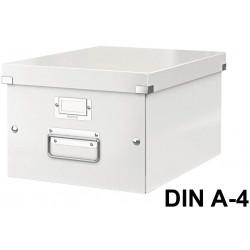Caja de almacenaje leitz click & store wow en formato din a-4, color blanco.