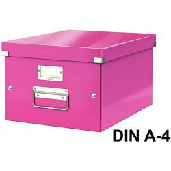 Caja de almacenaje leitz click & store wow en formato din a-4, color fucsia.