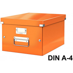 Caja de almacenaje leitz click & store wow en formato din a-4, color naranja.