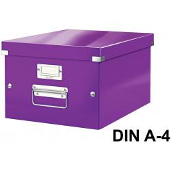 Caja de almacenaje leitz click & store wow en formato din a-4, color violeta.