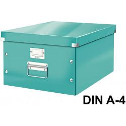 Caja de almacenaje leitz click & store wow en formato din a-4, color turquesa.