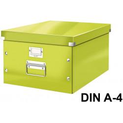 Caja de almacenaje leitz click & store wow en formato din a-4, color verde.