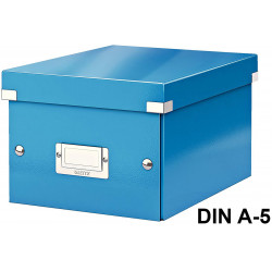 Caja de almacenaje leitz click & store wow en formato din a-5, color azul.