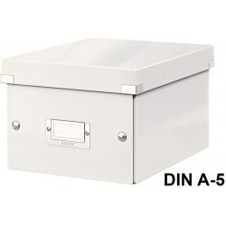 Caja de almacenaje leitz click & store wow en formato din a-5, color blanco.