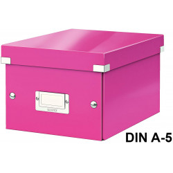 Caja de almacenaje leitz click & store wow en formato din a-5, color fucsia.