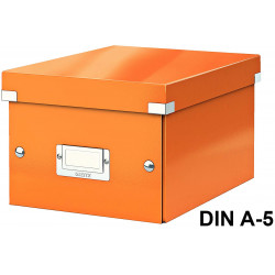Caja de almacenaje leitz click & store wow en formato din a-5, color naranja.