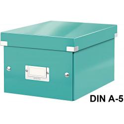 Caja de almacenaje leitz click & store wow en formato din a-5, color turquesa.