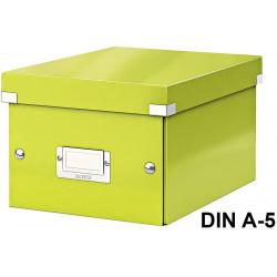 Caja de almacenaje leitz click & store wow en formato din a-5, color verde.