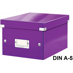 Caja de almacenaje leitz click & store wow en formato din a-5, color violeta.