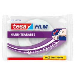 Cinta adhesiva transparente tesa film hand-tearable ( sin tijeras ) de 19 mm. x 25 mts.