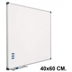 Pizarra de acero vitrificado blanco con marco de aluminio planning sisplamo de 40x60 cm.
