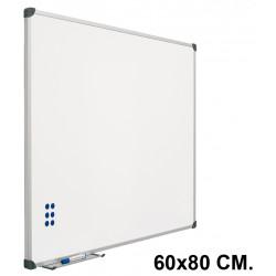 Pizarra de acero vitrificado blanco con marco de aluminio planning sisplamo de 60x80 cm.