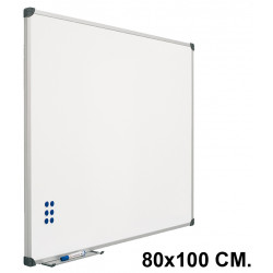Pizarra de acero vitrificado blanco con marco de aluminio planning sisplamo de 80x100 cm.