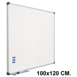 Pizarra de acero vitrificado blanco con marco de aluminio planning sisplamo de 100x120 cm.
