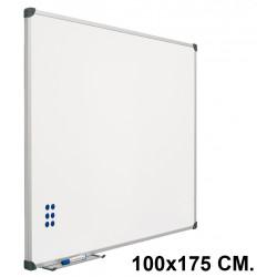 Pizarra de acero vitrificado blanco con marco de aluminio planning sisplamo de 100x175 cm.