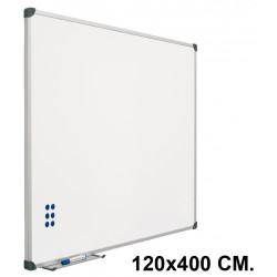Pizarra de acero vitrificado blanco con marco de aluminio planning sisplamo de 120x400 cm.