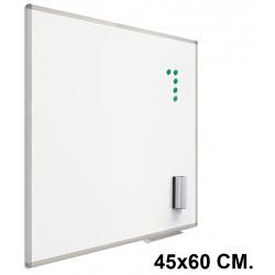 Pizarra de acero lacado blanco con marco de aluminio planning sisplamo de 45x60 cm.