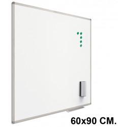 Pizarra de acero lacado blanco con marco de aluminio planning sisplamo de 60x90 cm.