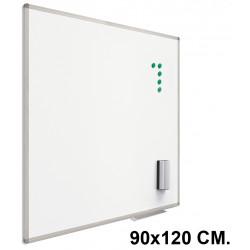 Pizarra de acero lacado blanco con marco de aluminio planning sisplamo de 90x120 cm.