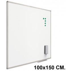 Pizarra de acero lacado blanco con marco de aluminio planning sisplamo de 100x150 cm.