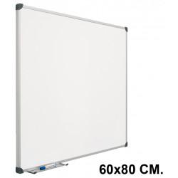 Pizarra laminada blanca con marco de aluminio planning sisplamo de 60x80 cm.