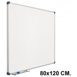 Pizarra laminada blanca con marco de aluminio planning sisplamo de 80x120 cm.