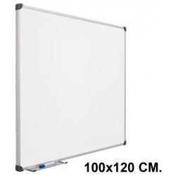 Pizarra laminada blanca con marco de aluminio planning sisplamo de 100x120 cm.