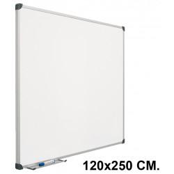 Pizarra laminada blanca con marco de aluminio planning sisplamo de 120x250 cm.