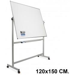 Pizarra de acero vitrificado blanco volteable con marco de aluminio planning sisplamo de 120x150 cm.