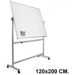 Pizarra de acero vitrificado blanco volteable con marco de aluminio planning sisplamo de 120x200 cm.