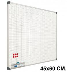 Pizarra de acero vitrificado blanco con cuadrícula y marco de aluminio planning sisplamo de 45x60 cm.