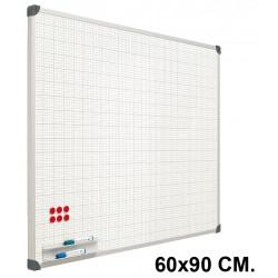 Pizarra de acero vitrificado blanco con cuadrícula y marco de aluminio planning sisplamo de 60x90 cm.