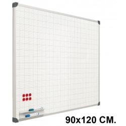 Pizarra de acero vitrificado blanco con cuadrícula y marco de aluminio planning sisplamo de 90x120 cm.