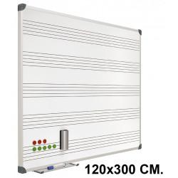 Pizarra de acero vitrificado blanco con pentagrama y marco de aluminio planning sisplamo de 120x300 cm.