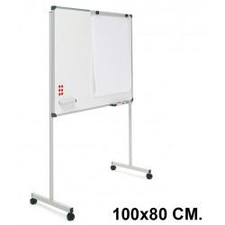 Pizarra de acero vitrificado blanco con marco de aluminio + soporte t planning sisplamo de 100x80 cm.