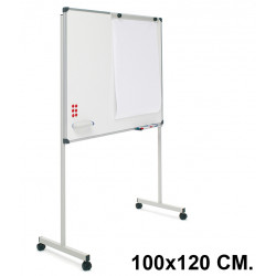 Pizarra de acero vitrificado blanco con marco de aluminio + soporte t planning sisplamo de 100x120 cm.