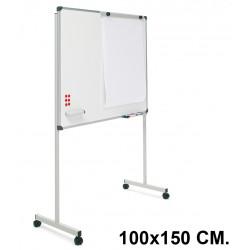 Pizarra de acero vitrificado blanco con marco de aluminio + soporte t planning sisplamo de 100x150 cm.