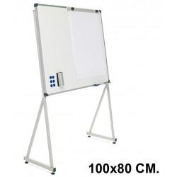 Pizarra de acero vitrificado blanco con marco de aluminio + soporte delta planning sisplamo de 100x80 cm.
