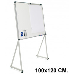 Pizarra de acero vitrificado blanco con marco de aluminio + soporte delta planning sisplamo de 100x120 cm.