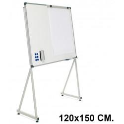 Pizarra de acero vitrificado blanco con marco de aluminio + soporte delta planning sisplamo de 120x150 cm.