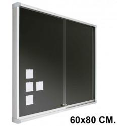 Vitrina de anuncios con fondo de corcho tapizado y marco de aluminio planning sisplamo de 60x80 cm.