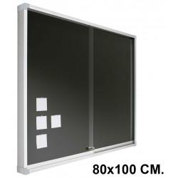 Vitrina de anuncios con fondo de corcho tapizado y marco de aluminio planning sisplamo de 80x100 cm.