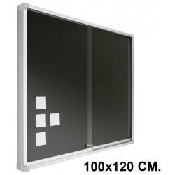 Vitrina de anuncios con fondo de corcho tapizado y marco de aluminio planning sisplamo de 100x120 cm.